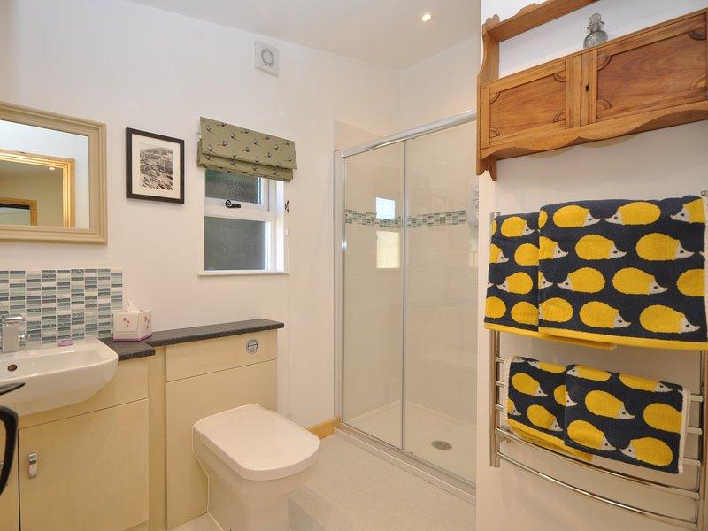 La salle de douche salle de bains avec une touche de couleur