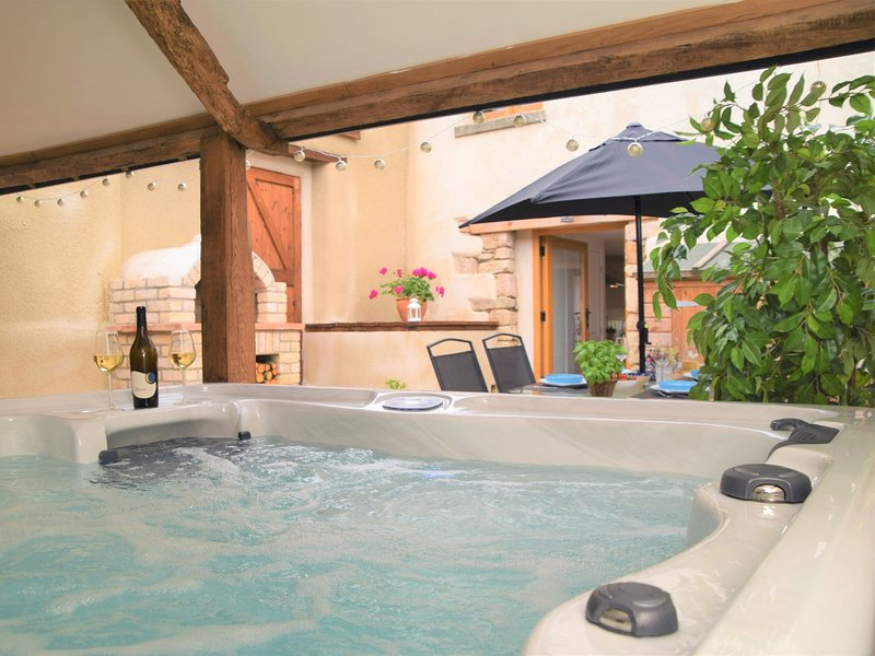 The perfect retreat,complete with hot tub