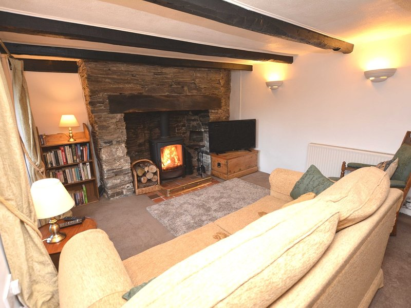 Lounge area with cosy woodburner and double sofa bed