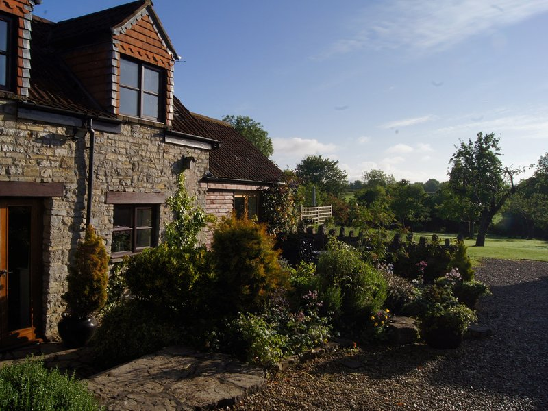 Looking towards the property and its outdoor seating area