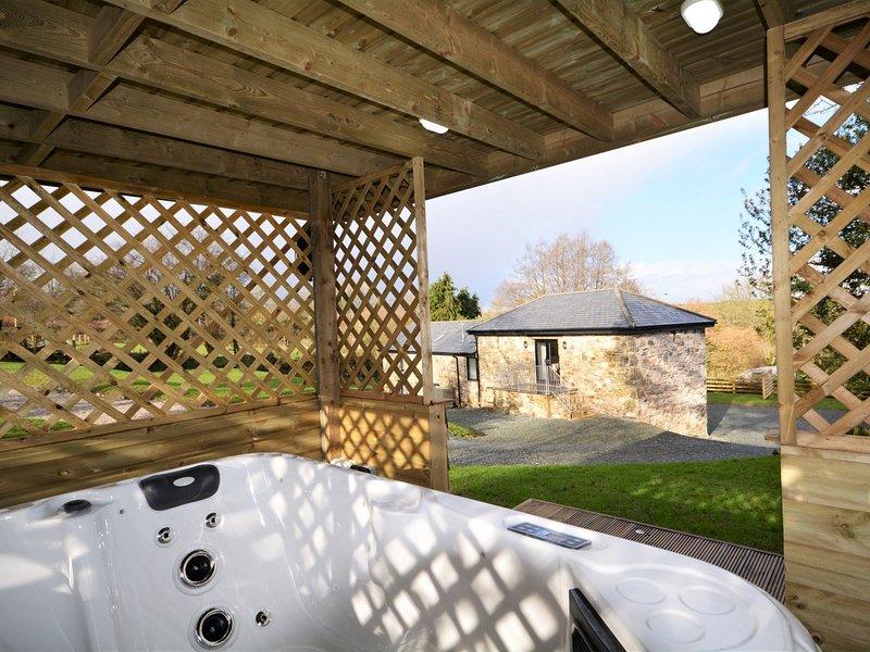 Relajarse en la bañera de hidromasaje encubierto