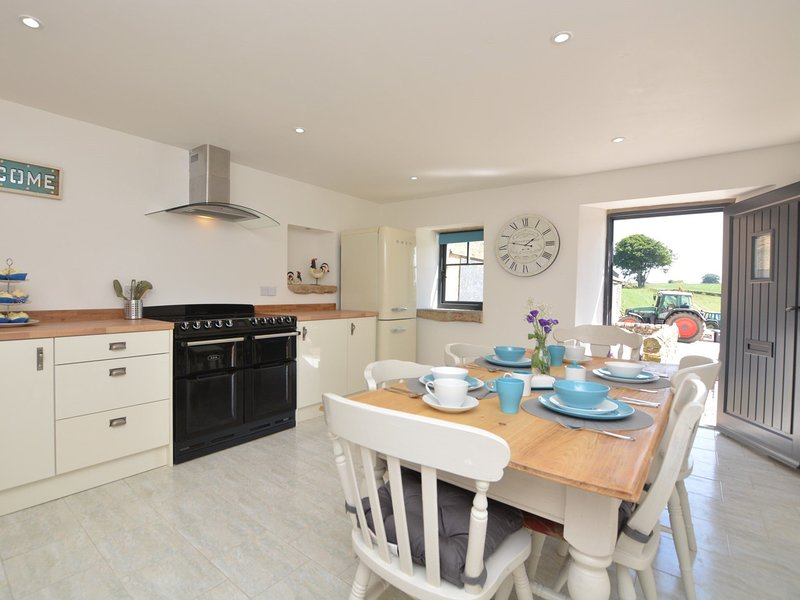 A bright and airy kitchen with splashes of colour