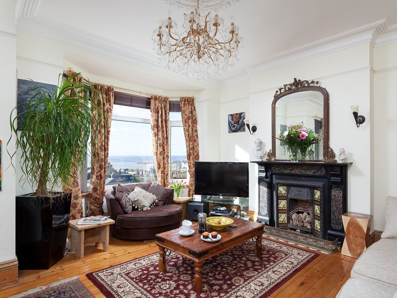 Beautifully decorated sitting room on first floor with amazing views