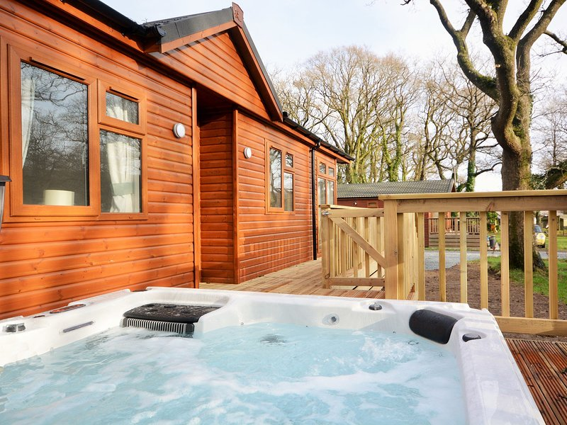 Hot tub and decked area