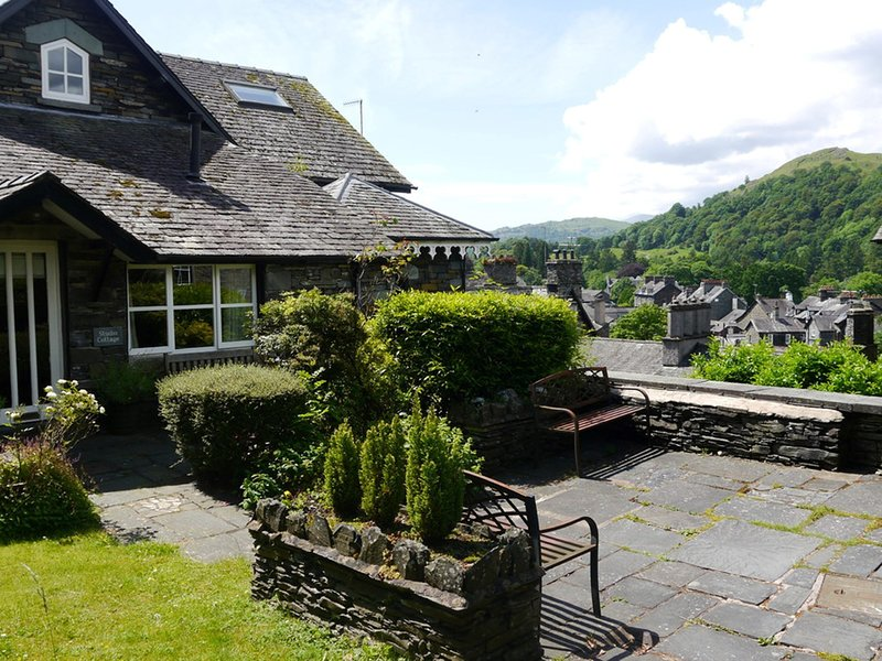 Shared patio to the front of the cottage with lovely views across Ambleside