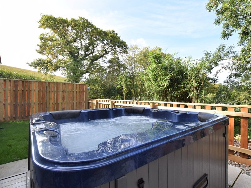 Hot tub in the enclosed patio area
