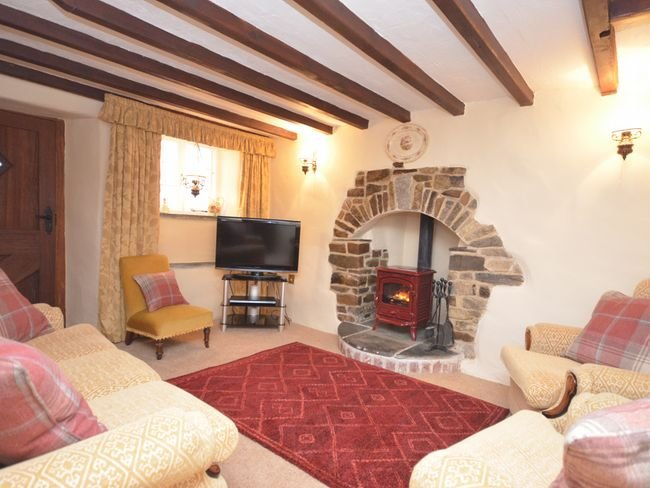 Lounge with exposed beams and wood burner
