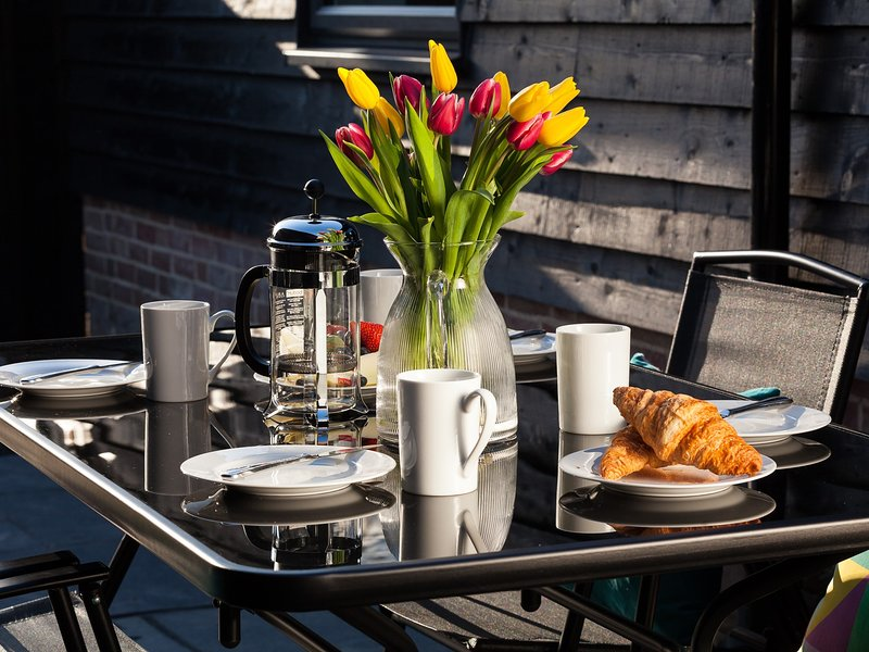 Enjoy breakfast on the patio