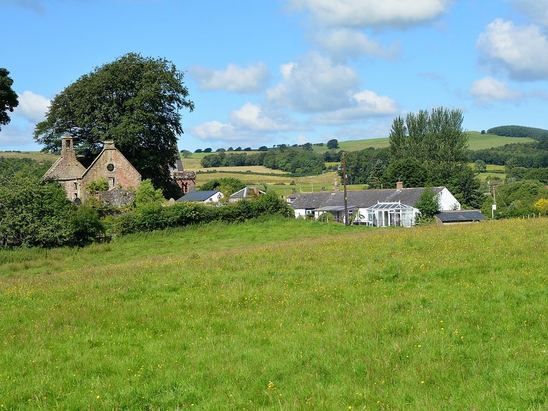 View across the fields towards the house