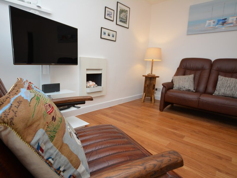 With Smart TV and pebble effect electric fire