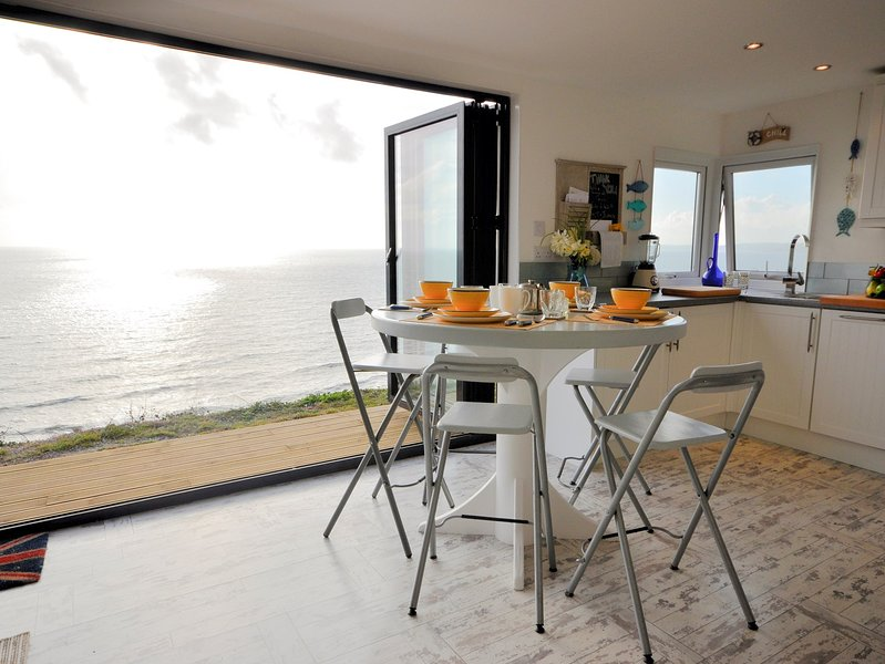 Dining area with views out to sea