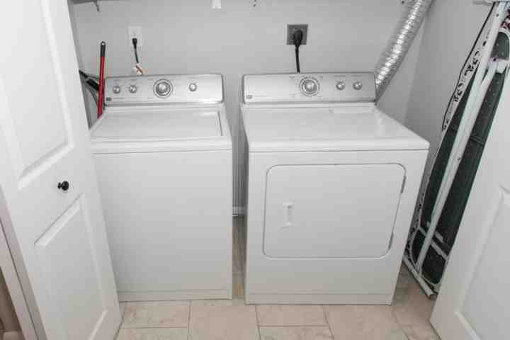 Full size washer/dryer located in unit