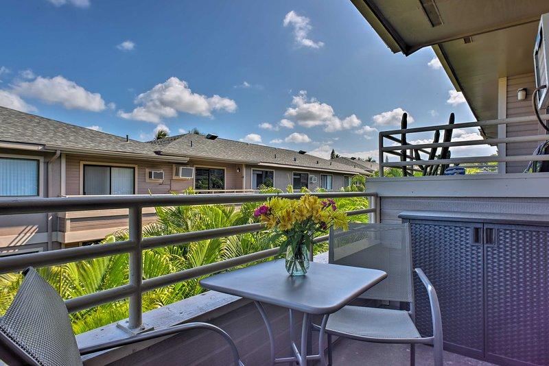 Enjoy the sunny Hawaiian weather on your private balcony.