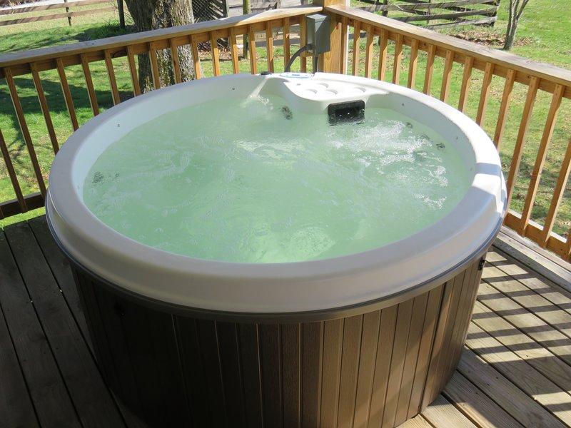 Vous allez adorer se détendre dans ce bain à remous tout en admirant l'étang de jardin serein et paisible.