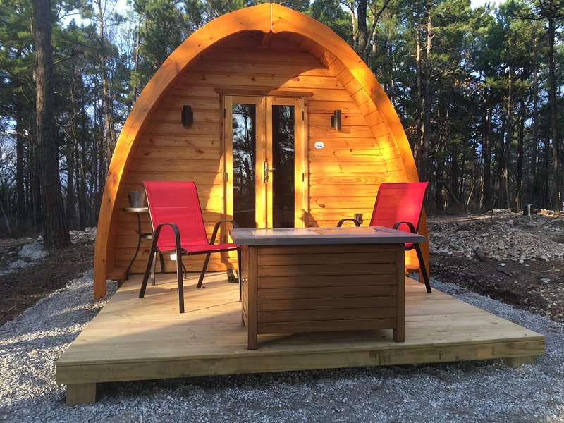Glamping pods with private bathroom just steps away