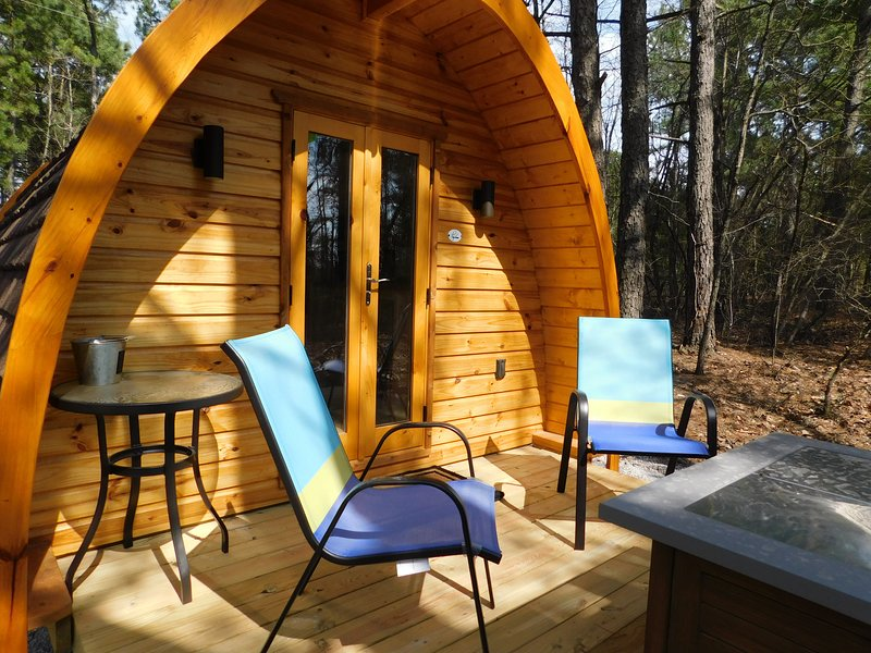 One of three glamping pods with private bath just steps away