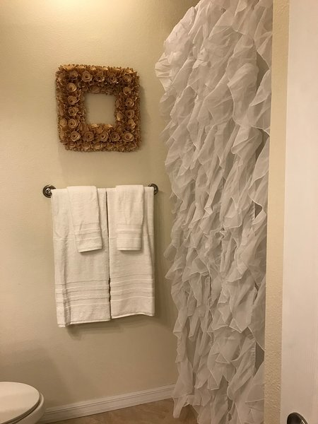 Over-size shower in MBR with ex.large, thick, terry hotel style towels.