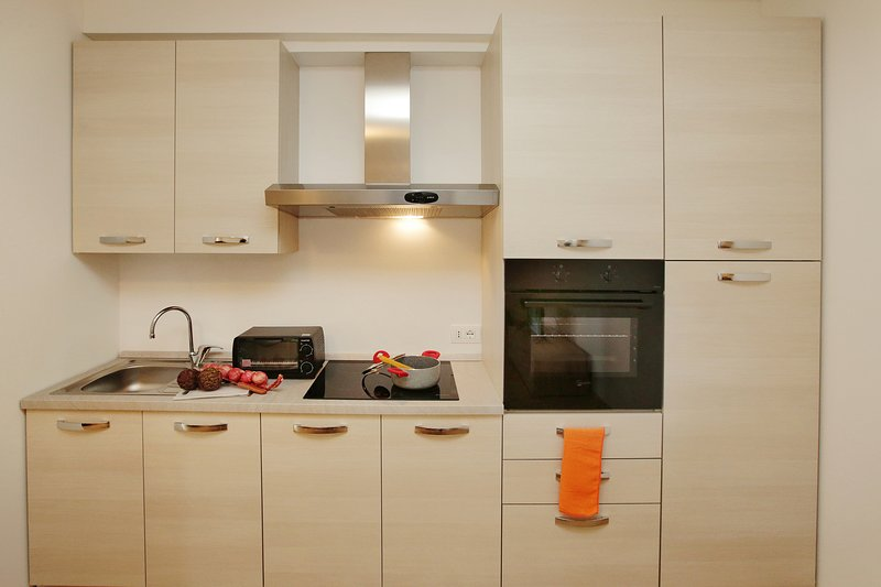 The kitchen counter with cooker hob, silk and oven.