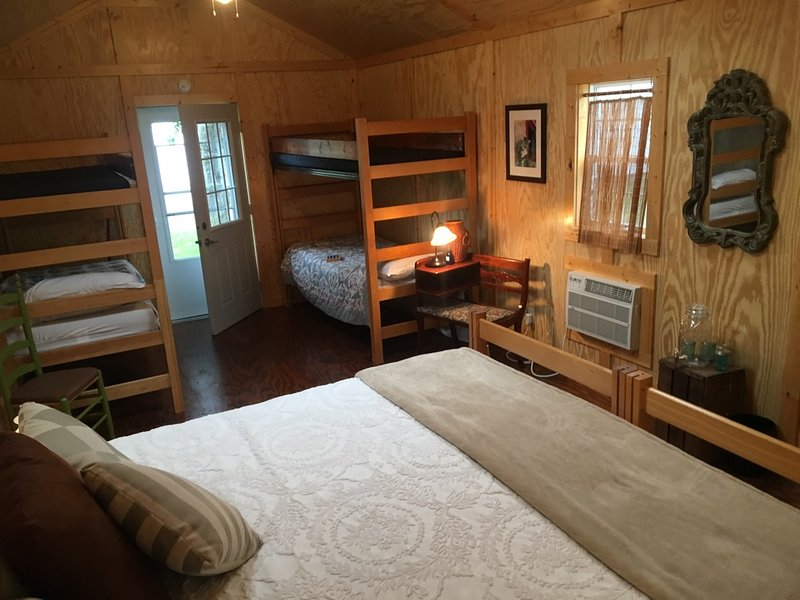 An example cabin configuration. Each has electricity, heat, air and optional screened doors/windows.