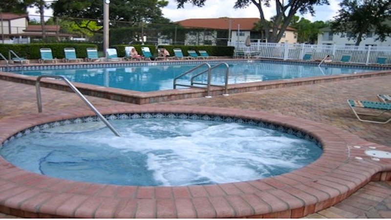 One of two heated pools and spas beteen tennis courts. This pool has water aerobics in mornings.