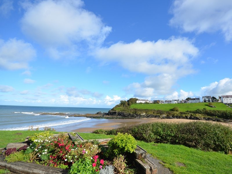 Take a stroll along Aberporth beach during your stay