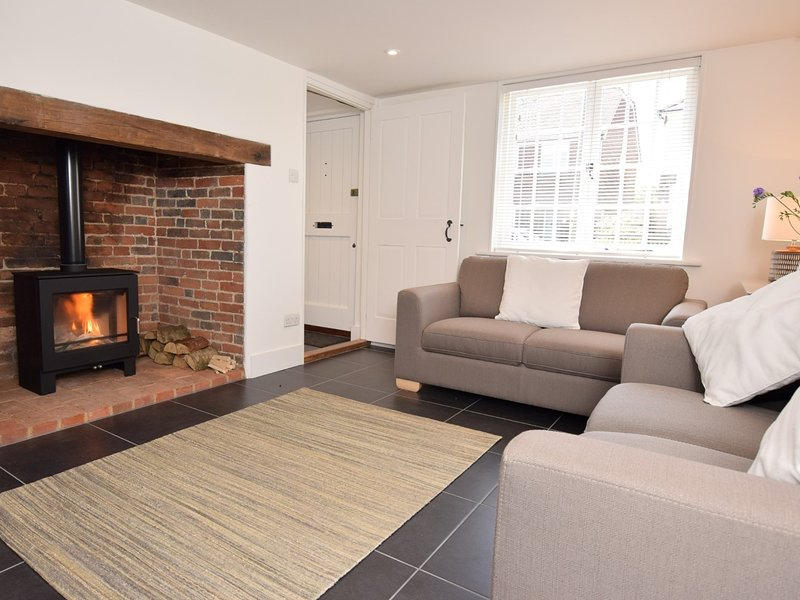 Cosy lounge with a wood burner