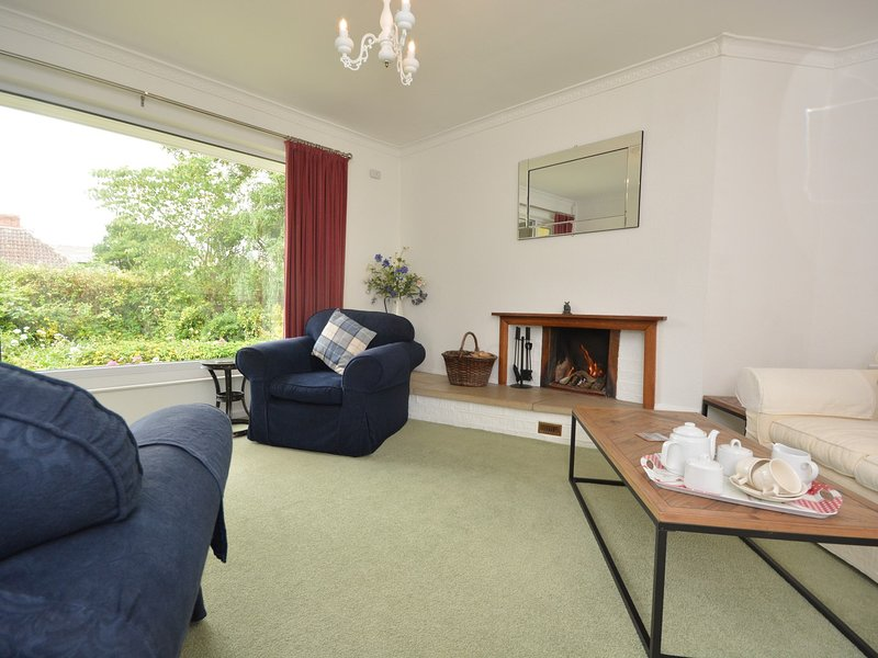 Spacious and light lounge with open fire,perfect for cosy evenings in