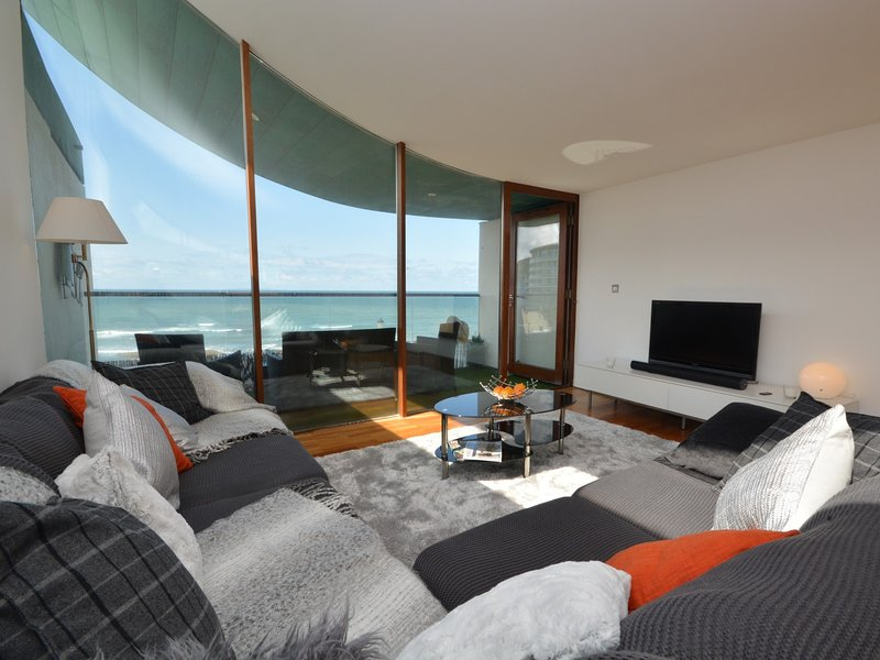 Comfortable lounge area with sea views