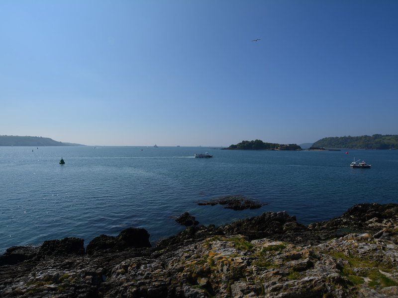View from the patio looking towards Drakes Island and Mount Edgcumbe estate