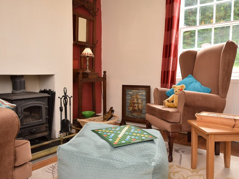 Childrens play room with cheerful wood burner