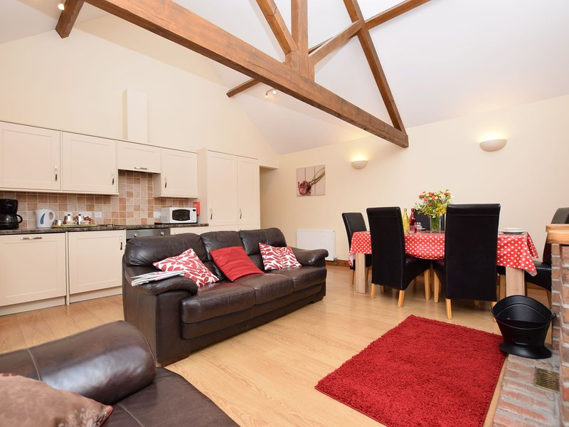 Open plan lounge/kitchen/dining area with woodburner
