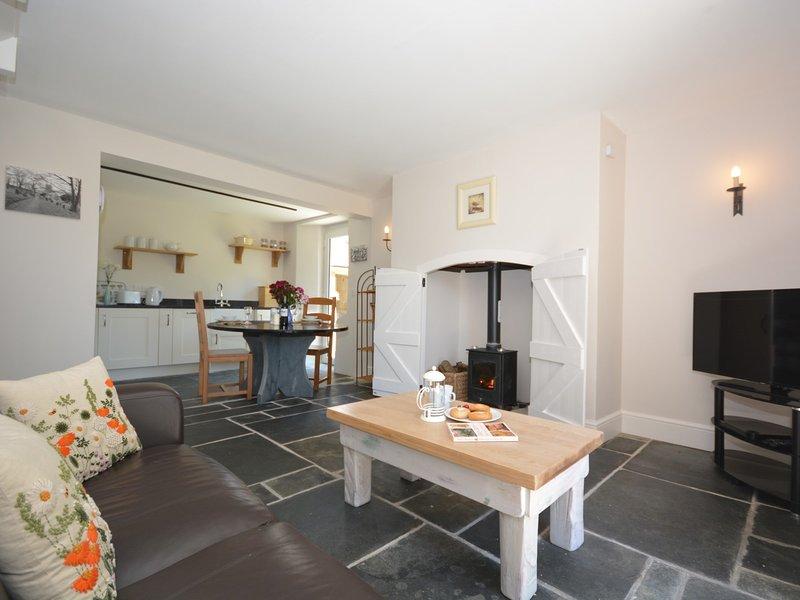 Lounge/kitchen/diner with woodburner