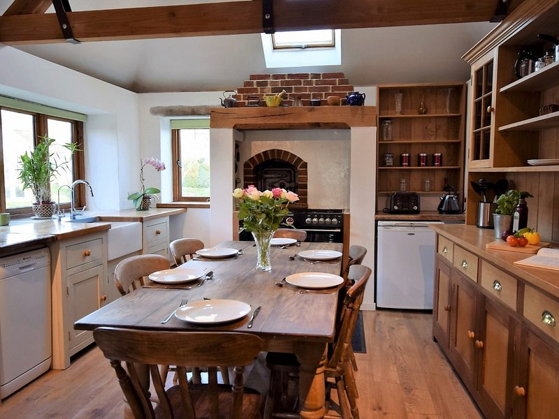 Enjoy dining in the traditonal farmhouse kitchen