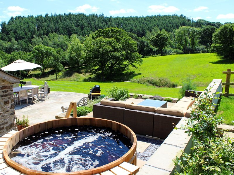 Hot tub and views across the land
