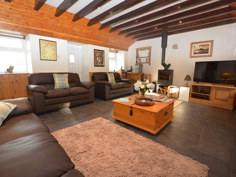 Lounge with warming wood burner