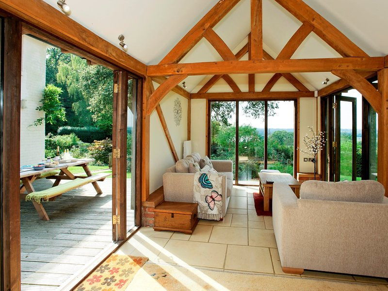 Open-plan living in the converted barn