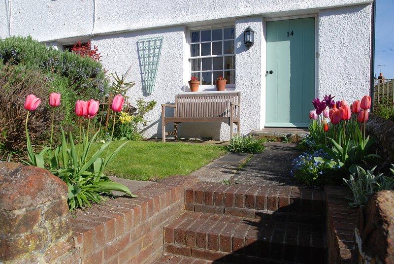 Rosebud Cottage está en el extremo de un edificio de estilo victoriano.