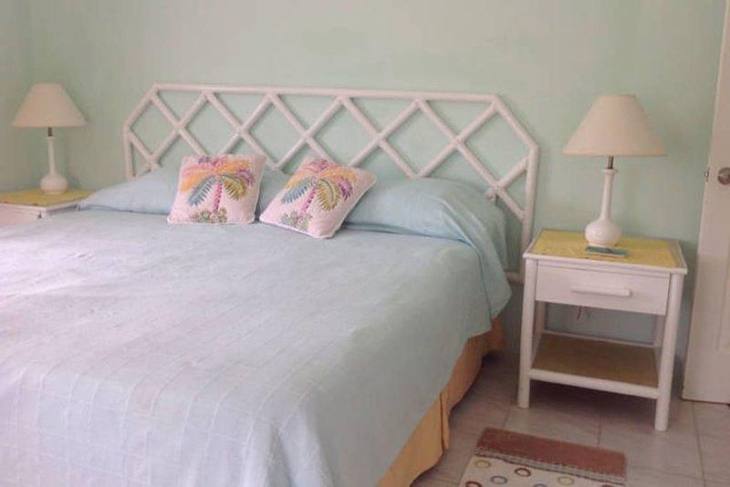 Menor apto, 1 dormitorio con ventanas orientadas hacia el sur y el este, techo, ventiladores de pie, opcional A / C