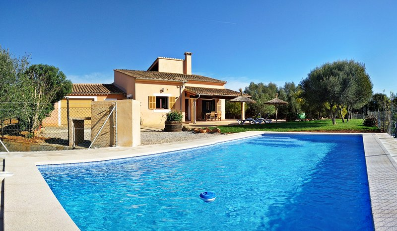 Picture of the pool and the house surrounded by a great garden for the use of our clients