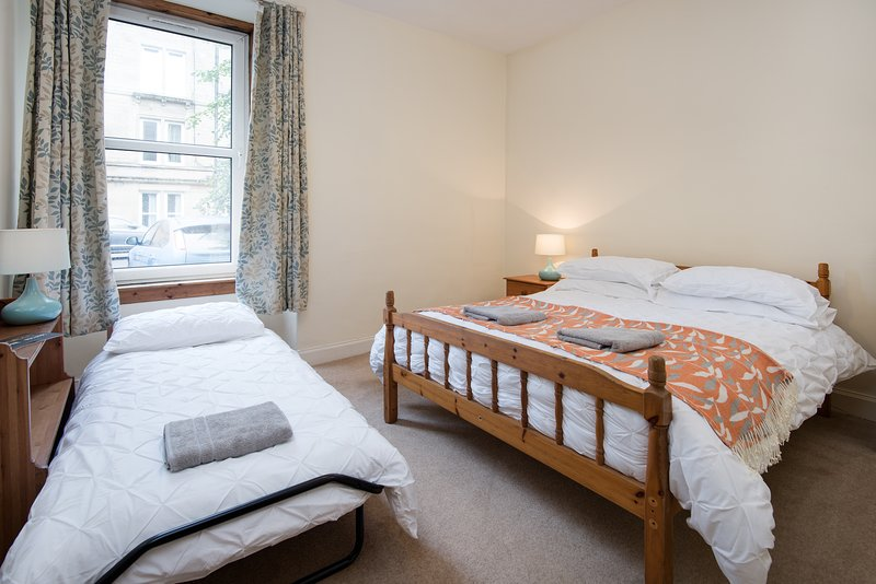 A kingsize double bed with hotel quality bed linen plus an extra guest bed if required
