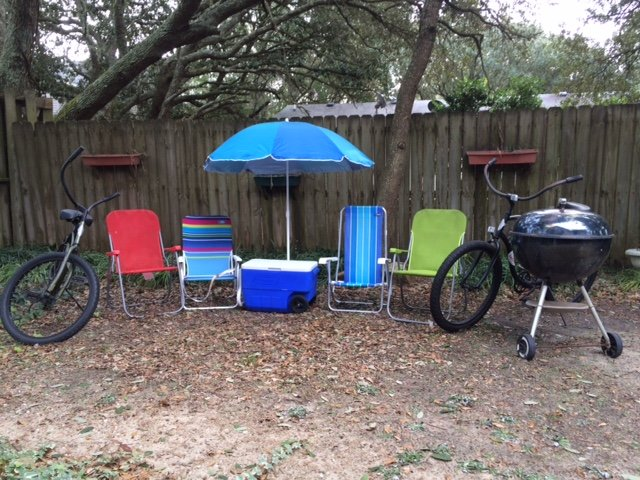 Beach accessories and bikes available for use.
