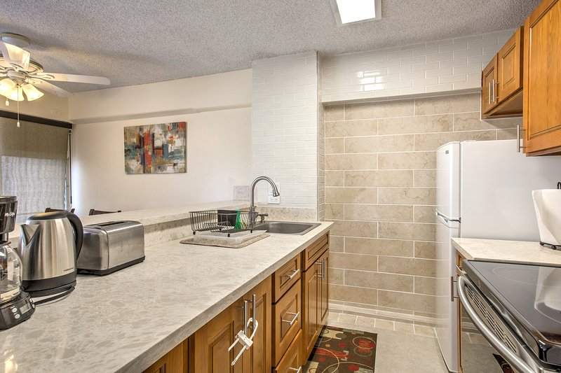The fully equipped kitchen has everything you need to prepare favorite dishes.