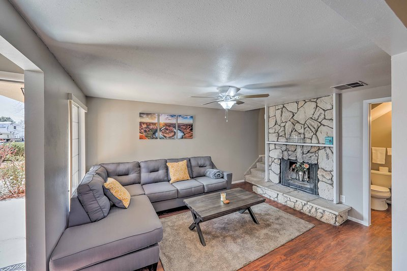 Your bright 2-bedroom, 1.5-bathroom vacation rental home is warm and inviting.