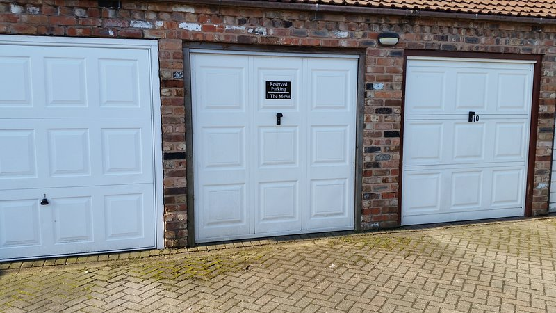 The designated parking area is well signed. You are invited to park in front of this garage.