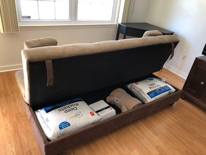 Rangement sous un canapé-lit