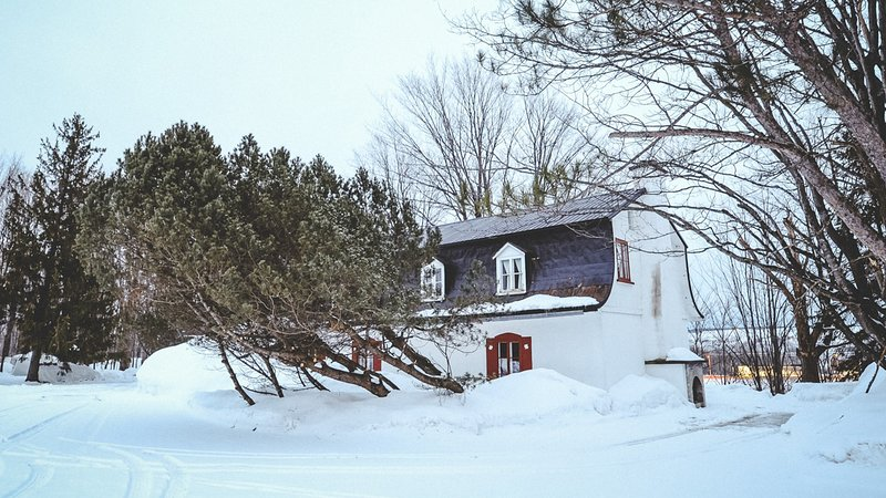La parte trasera de la casa, con la misma manta nevada.