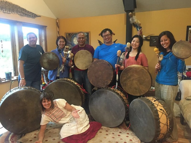 community drum keepers training at the adjacent Whirling Rainbow Center