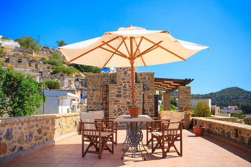 Terrace with panoramic sea views . Patio in the background