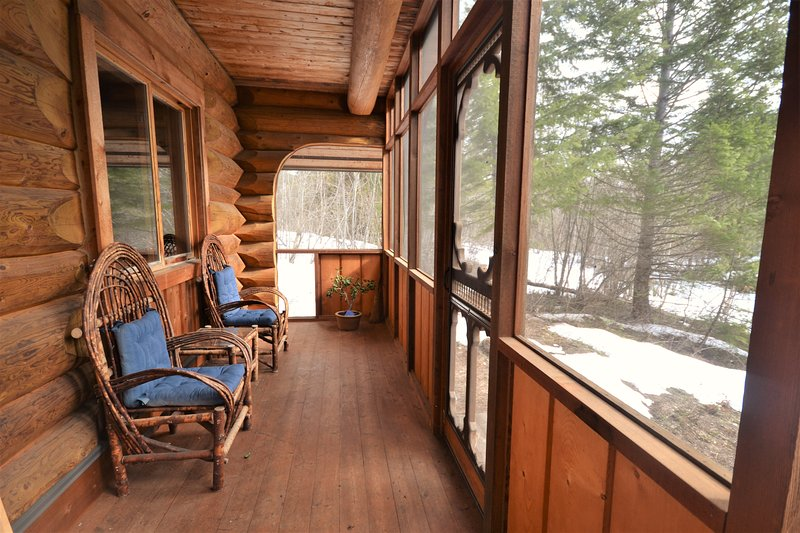 The screened in porch.