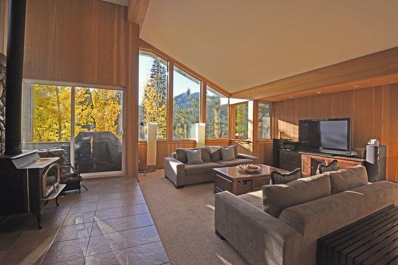 Espaçosa sala de estar com um lugar madeira fogo ardente olhar sobre as montanhas